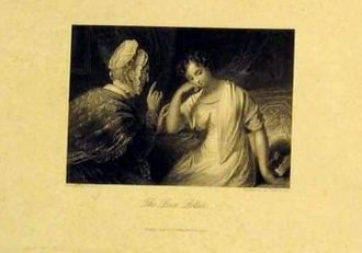 "Letitia Elizabeth Landon - This is an engraving by Chas. Rolls of a painting by artist Henry James Richter. The painting is titled, ""The Love Letter"". There is a poem written about this engraving that was authored by Letitia Elizabeth Landon and published in Fisher's Drawing Room Scrap Book, 1833. The painting depicts a scene from Sir Walter Scott's book, The Antiquary. The painting is currently in a private collection."