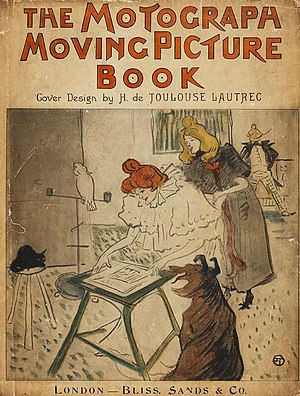 "Barrier grid animation and stereography - Henri de Toulouse Lautrec's cover of the new edition of ""The Motograph Moving Picture Book"" (1898)"