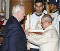 The President, Shri Pranab Mukherjee presenting the Padma Bhushan Award to Mr. Robert Dean Blackwill, at a Civil Investiture Ceremony, at Rashtrapati Bhavan, in New Delhi on April 12, 2016.jpg