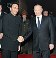 The President of the Russian Federation, Mr. Vladimir Putin being received by the Minister of State for Human Resource Development, Shri Jitin Prasada, at the Air Force Station, Palam, in New Delhi on December 24, 2012.jpg