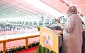 The Prime Minister, Shri Narendra Modi addressing a public meeting, at the inauguration of the Mundra LNG Terminal & Anjar – Mundra Gas Transmission Project, in Anjar, Gujarat on September 30, 2018 (1).JPG