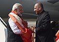 The Prime Minister, Shri Narendra Modi being welcomed by the Governor of Andhra Pradesh and Telangana, Shri E.S.L. Narasimhan, on his arrival, at Hyderabad on November 28, 2017.jpg