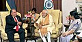 The Prime Minister, Shri Narendra Modi meeting the President of Nauru, Mr. Baron Waqa, in Jaipur on August 21, 2015. The Union Minister for External Affairs and Overseas Indian Affairs, Smt. Sushma Swaraj is also seen.jpg