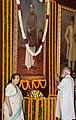 The Prime Minister, Shri Narendra Modi paying homage to Dr. Syama Prasad Mookerjee, on his birth anniversary, at Parliament House, in New Delhi on July 06, 2016. The Speaker, Lok Sabha, Smt. Sumitra Mahajan is also seen.jpg