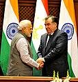 The Prime Minister, Shri Narendra Modi shaking hands with the President of Tajikistan, Mr. Emomali Rahmon after the Joint Press Briefing, at Qasr-e-Millat, in Dushanbe, Tajikistan on July 13, 2015.jpg