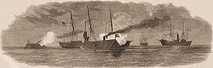 Prince Romerson - The Union Blockading Fleet engaging Confederate Rams off the coast of South Carolina, 1863