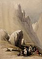 The Rock of Moses in Wady-El-Leja valley, west of Mount Sina Wellcome V0049444.jpg