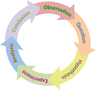 The scientific method is a continuous cycle of hypothesis, prediction, testing and questioning. The Scientific Method (simple).png