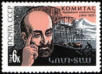 Komitas - Komitas on a 1969 Soviet Union postage stamp