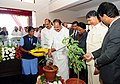 The Vice President, Shri M. Venkaiah Naidu planting a sapling at the new campus of Vellore Institute of Technology, in Amaravati, Andhra Pradesh.jpg