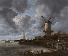 painting of a windmill, river and large sky