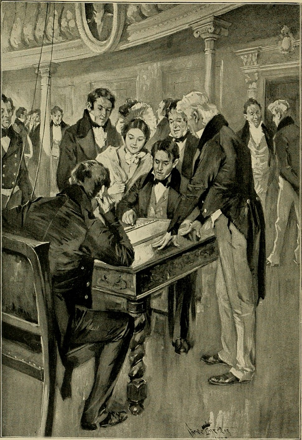 The first telegram. Professor Samuel Morse sending the despatch as dictated by Miss Annie Ellsworth