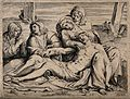 The four holy women lament over the dead Christ. Line engrav Wellcome V0034794.jpg