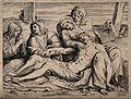The four holy women lament over the dead Christ. Line engrav Wellcome V0034794.jpg