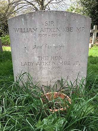 William Aitken (politician) - The grave of Sir William and his wife Penelope in the churchyard of St Mary, Playford