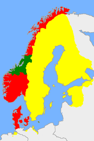 Treaty of Copenhagen (1660) - Sweden in yellow, Denmark-Norway in red. Sweden had to return Trøndelag and Bornholm to Denmark-Norway. Ceded areas in green.