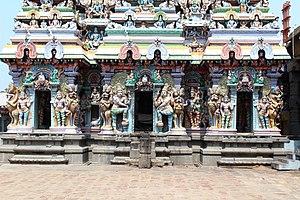 Thiruvadigai Temple - Stucco images on the vimanam