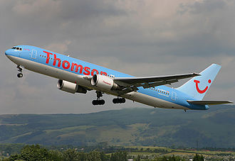 Thomsonfly - A Thomsonfly Boeing 767-300ER takes off from Glasgow International Airport, Scotland. (2006)