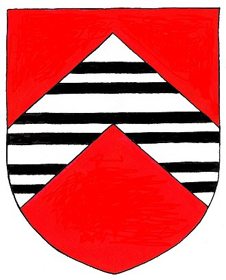 John Throckmorton - Arms of Throckmorton: Gules, on a chevron argent three bars gemelles sable. Crest: A falcon rising proper belled and jessed or. Mottos: (1): Virtus Sola Nobilitas (Virtue is the only nobility); (2): Moribus Antiquis (With ancient manners)