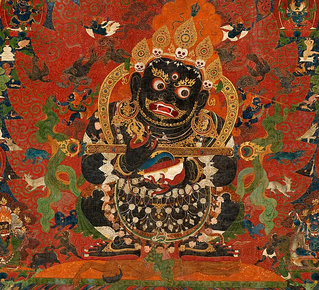 File:Tibetan thangka from AD 1500, Mahakala, Protector of the Tent, Central Tibet. Distemper on cloth- (cropped).jpg