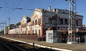 Tikhoretsk railway station vokzal from rails.jpg