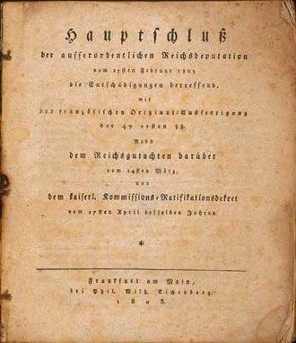 Reichsdeputationshauptschluss - Reichsdeputationshauptschluss, printed edition, page 1