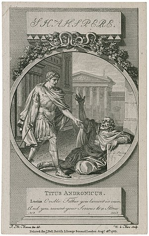 Titus Andronicus (character) - Jean-Michel Moreau's illustration of Titus Andronicus (right) being told by his son Lucius that the tribunes have left, from Act 3, Scene 1; engraved by N. le Mire (1785)
