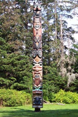 Battle of Sitka - The Tlingit Ḵ'alyaan Pole, erected at the site of Fort Shís'gi Noow in Sitka National Historical Park to commemorate the lives of those lost in the Battle of Sitka.
