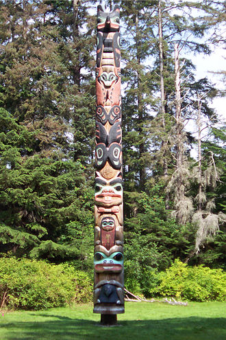 History of the United States - The K'alyaan Totem Pole of the Tlingit Kiks.ádi Clan, erected at Sitka National Historical Park to commemorate the lives lost in the 1804 Battle of Sitka.