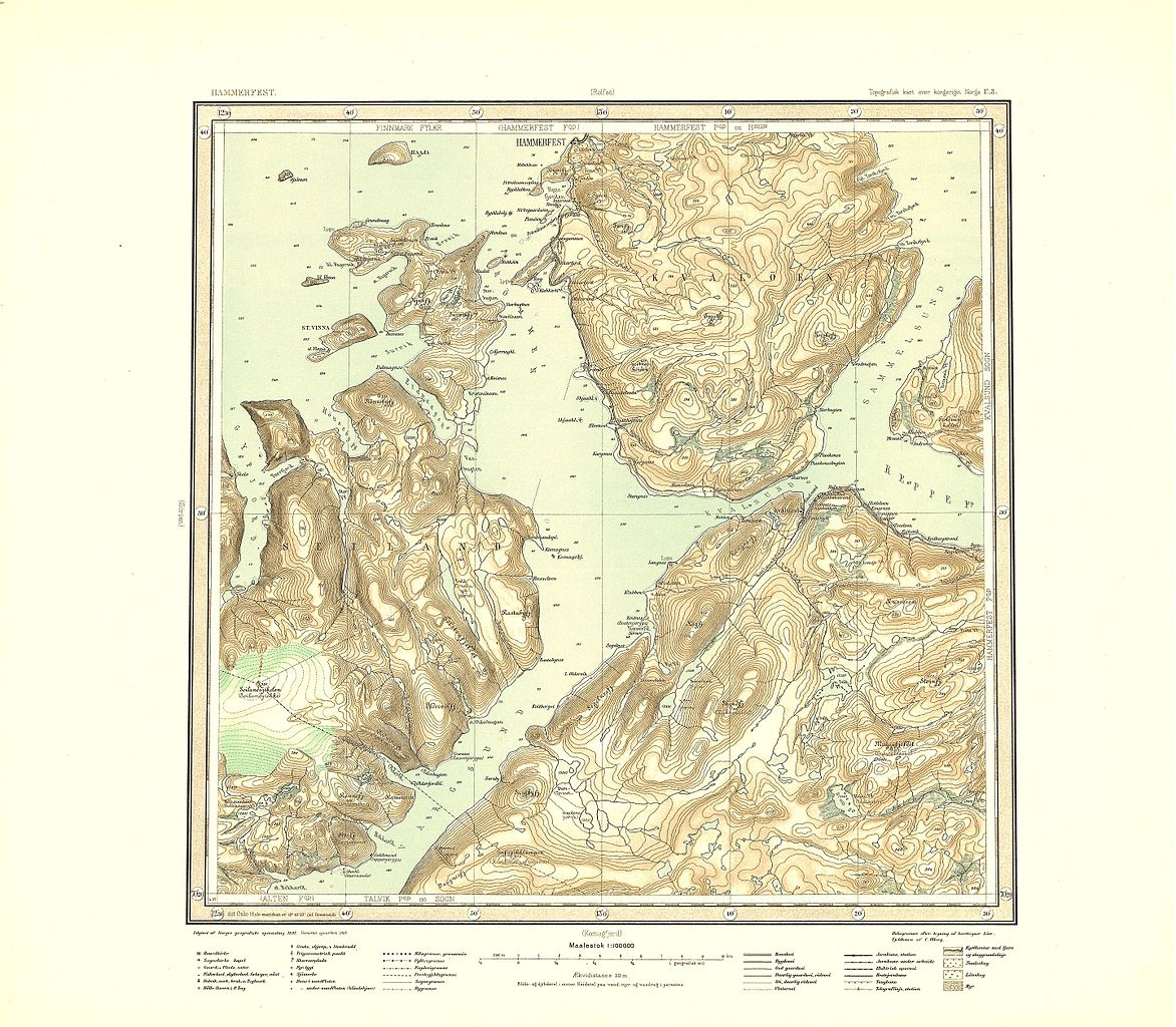 FileTopographic Map Of Norway U Hammerfest Jpg - Norway map hammerfest