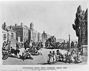 Tottenham Court Road Turnpike, about 1800. Wellcome M0012499.jpg