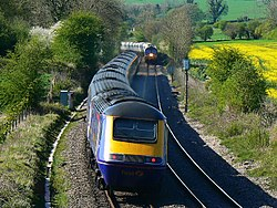 Trains passing, near Wolfhall, Burbage - geograph.org.uk - 406724.jpg