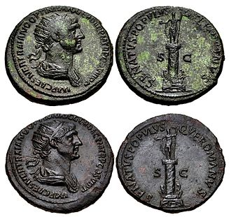 Trajan's Column - Two examples of Dupondius struck 114-116 AD, showing Trajan's column with the original statue on top and his portrait