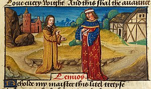Peniarth 481 - Image: Translator addressing his master on a road