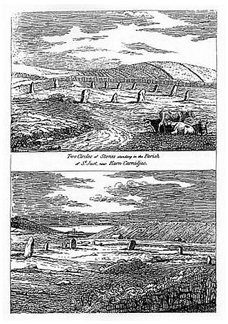 Tregeseal East stone circle - Illustration by William Cotton 1827