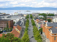Central Trondheim as seen northwards from cathedral tower towards Trondheimsfjord and Munkholmen island.