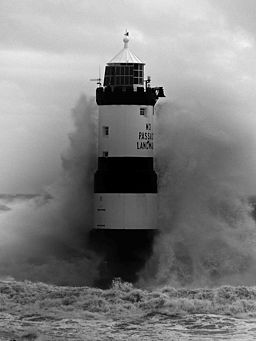 Trwyn Du lighthouse in stormy seas ^2 - geograph.org.uk - 952614