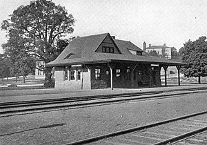 History of Tufts University - Tufts College Avenue Station in 1907