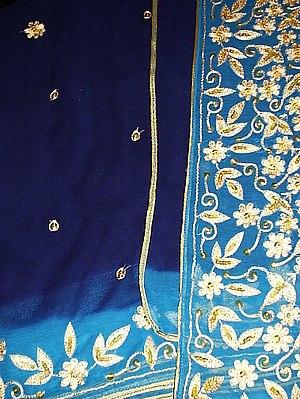 Turquoise Chiffon Sari.