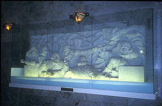 Ferdowsi - Scenes from the Shahnameh carved into reliefs at Ferdowsi's mausoleum in Tus, Iran