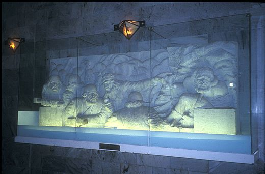 Relief in Tus depicting popular mythical stories of Iran. Tus shahnameh.jpg