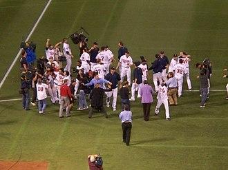 2009 Minnesota Twins season - Minnesota Twins celebrate division tiebreaker victory over the Detroit Tigers.