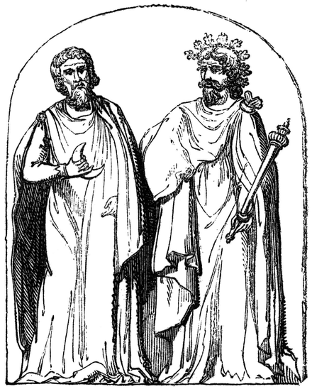 Two Druids, 19th century engraving based on a 1719 illustration by Bernard de Montfaucon, who claimed that he was reproducing a bas-relief found at Autun, Burgundy. Two Druids.PNG