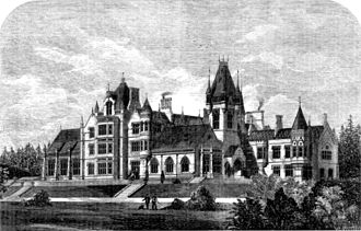 William Gibbs (businessman) - Image of Tyntesfield in an 1866 edition of The Builder magazine (the central clock tower shown was demolished in 1935)
