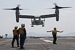 U.S. Marine Corps MV-22B Osprey aircraft work with Japan to deliver earthquake relief supplies. (25936524984).jpg