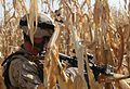 U.S. Marine Corps Sgt. Stephen G. Patten, a squad leader with Golf Company, 2nd Battalion, 2nd Marine Regiment, takes a knee and provides security during a patrol through the fields and town of Amir Agha in 091202-M-EK802-003.jpg