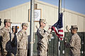 U.S. Marines and coalition forces with Regional Command (Southwest) conduct a flag-raising ceremony at Camp Leatherneck in Helmand province, Afghanistan, Nov. 11, 2013 131111-M-ZE445-007.jpg
