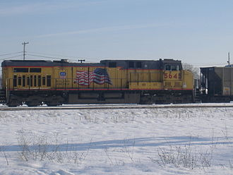 Union Pacific Railroad - UP Locomotive GE AC4400CW 5645 in Battle Creek, Michigan, with the Flags and Flares paint scheme