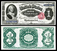 Certificado de prata de $ 1, série 1891, Fr.223, representando Martha Washington