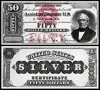 Certificado de prata de $ 50, série 1878, Fr.324, representando Edward Everett